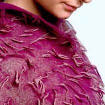 Aubergine tassel scarf knitted, felted printed