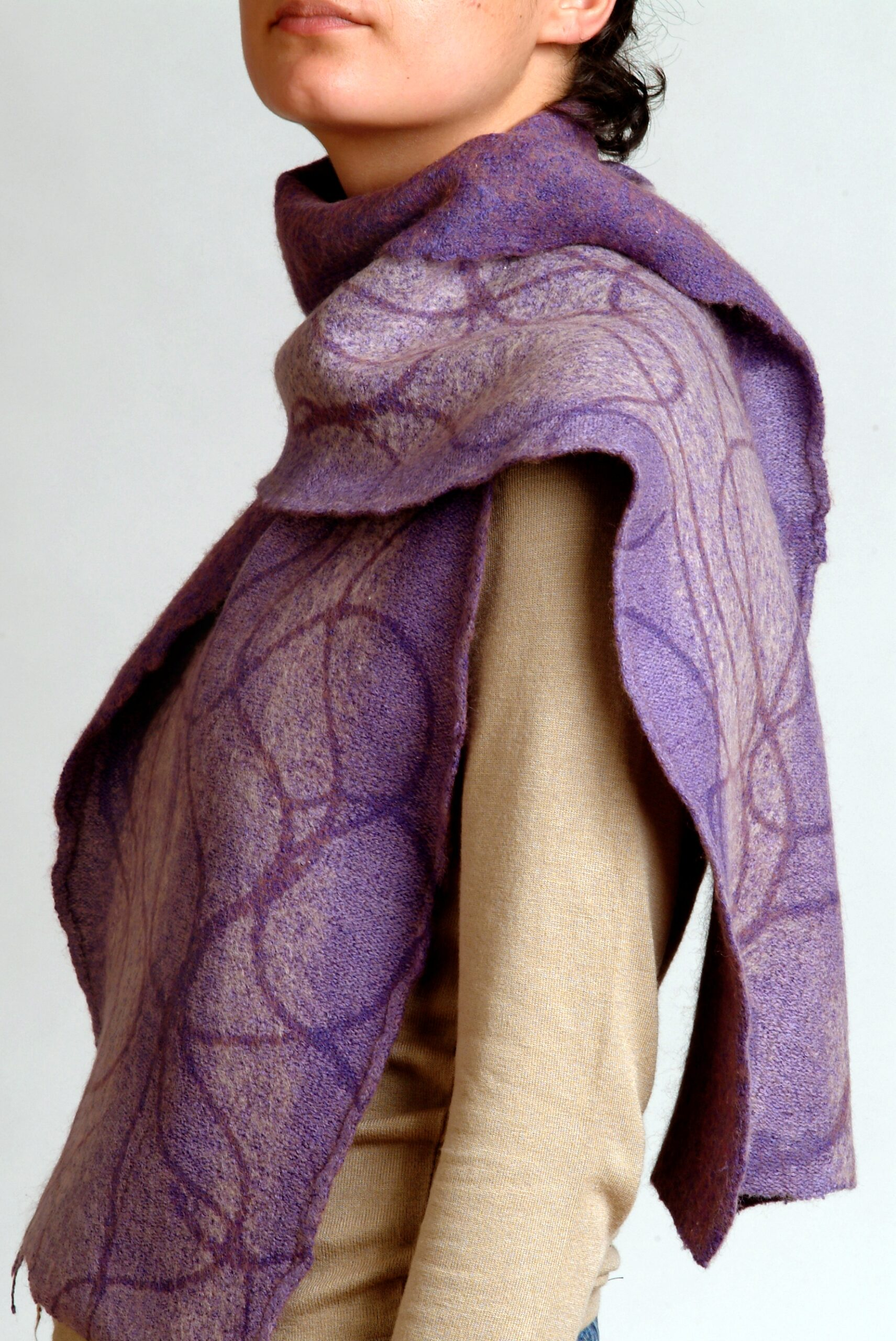 Hand dyed, printed and felted lilac scarf