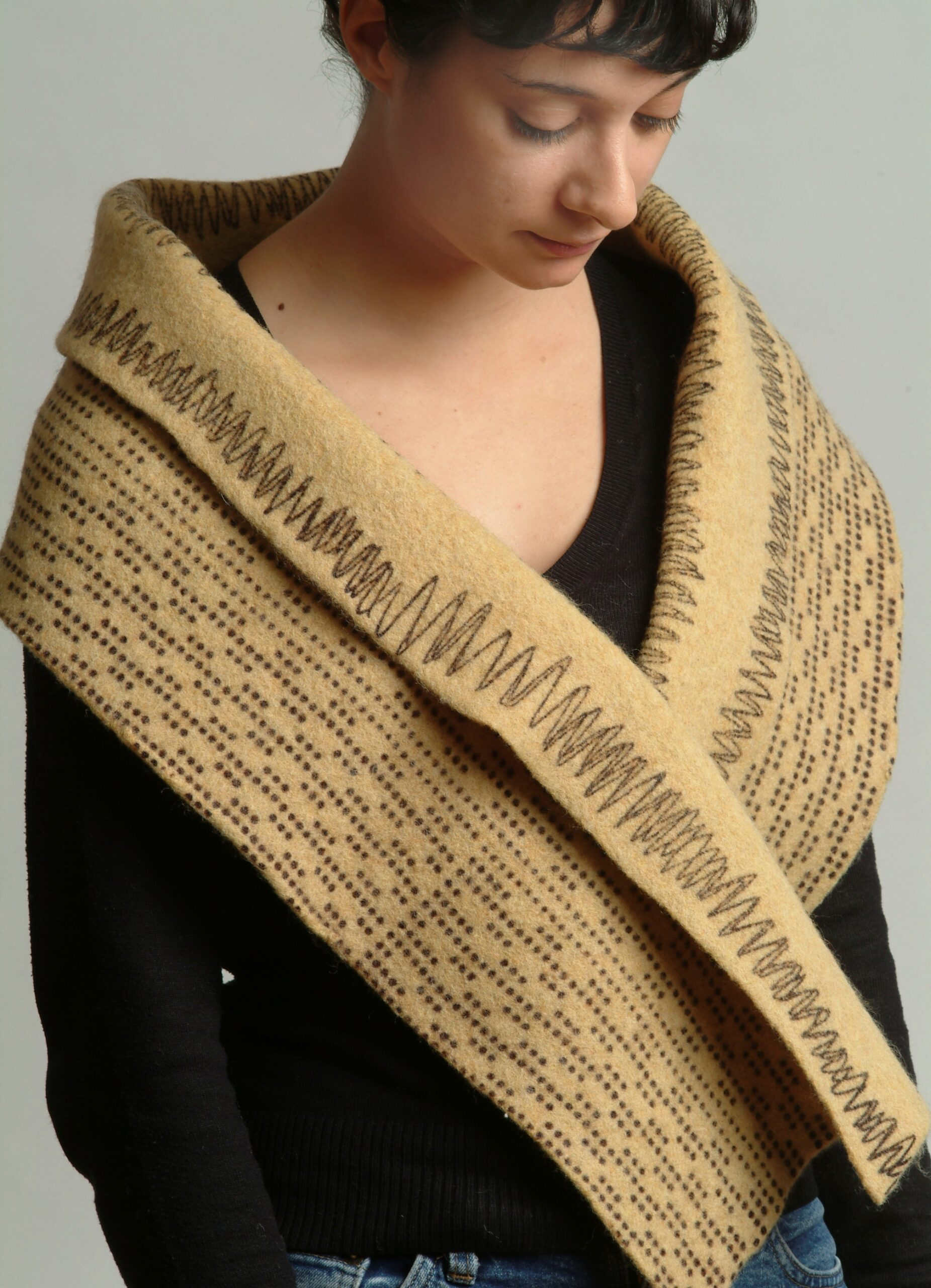 Hand dyed, printed and felted yellow ochre scarf